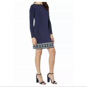 New Michael Kors navy blue sheath border dress